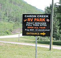 Caron Creek RV Park sign
